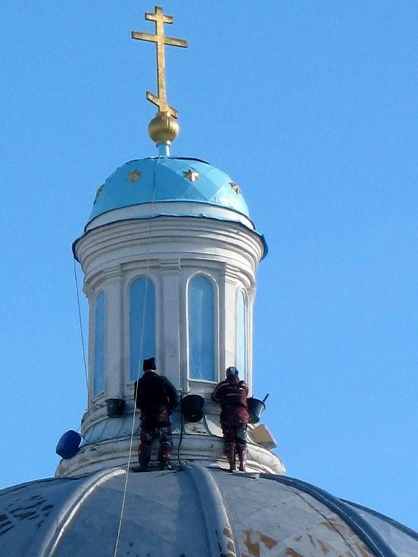 11 Покраска купола Троицкой церкви